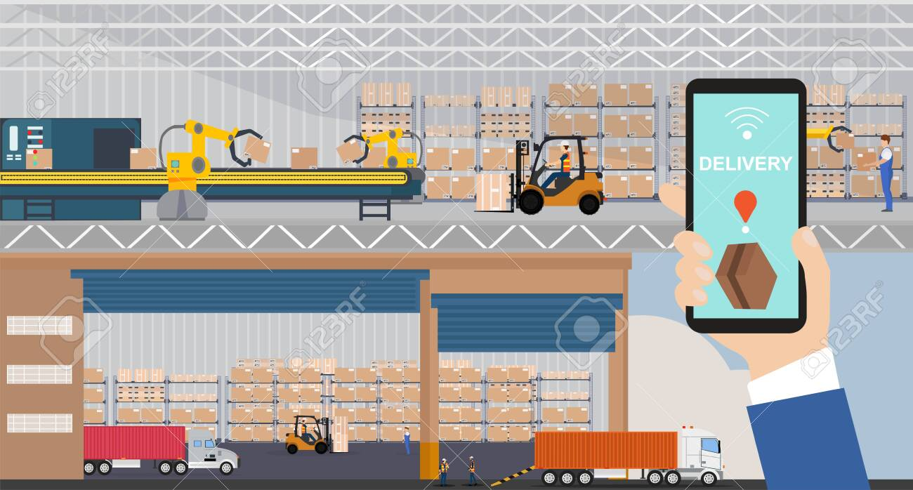 Vector of a warehouse and automated loading dock managed via app on a smartphone - 140561539