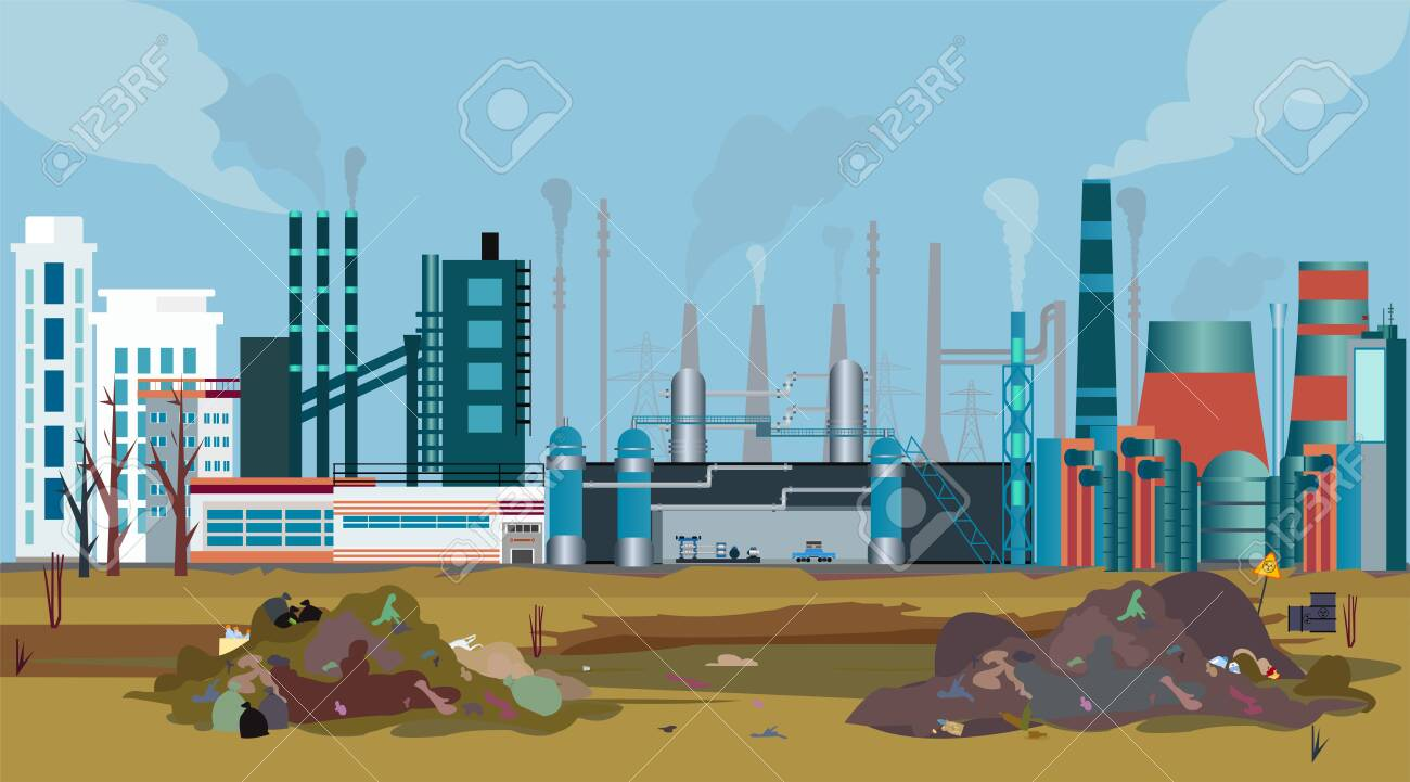 Vector of a working factory polluting air, water and soil with toxic waste chemicals - 142779480