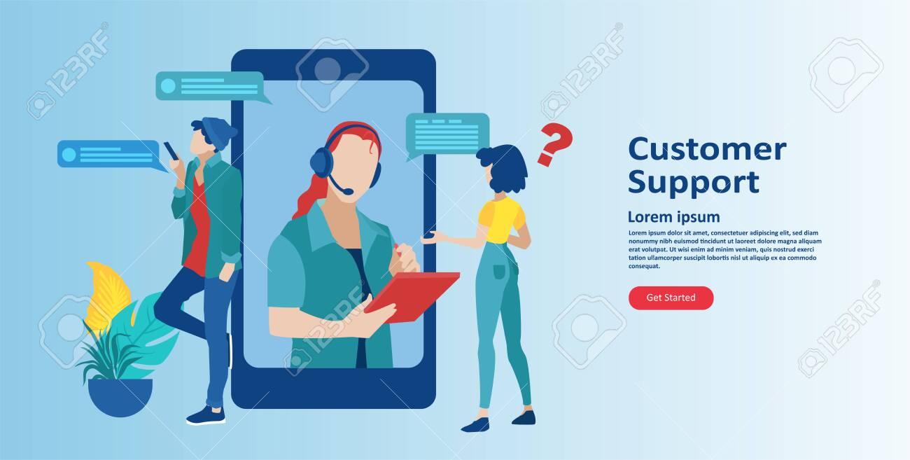 Online Customer Support Concept Vector Of An Mobile Service Royalty Free Cliparts Vectors And Stock Illustration Image 149308207