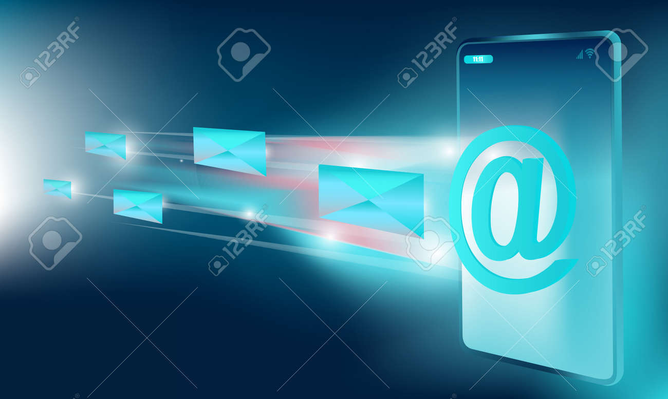 Isometric vector of an Email message service on a smartphone - 170181531