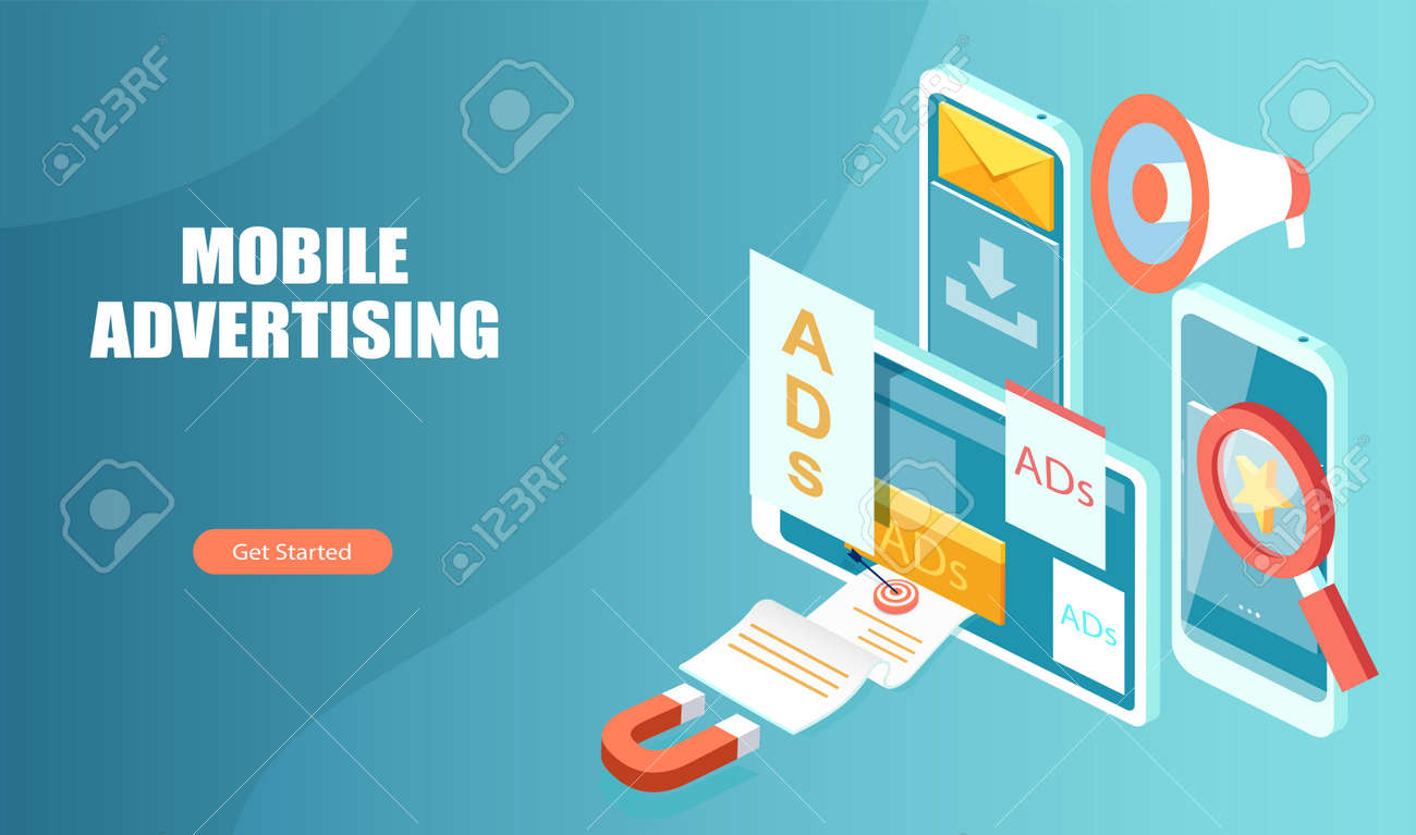 Mobile ads and digital marketing concept - 170394810