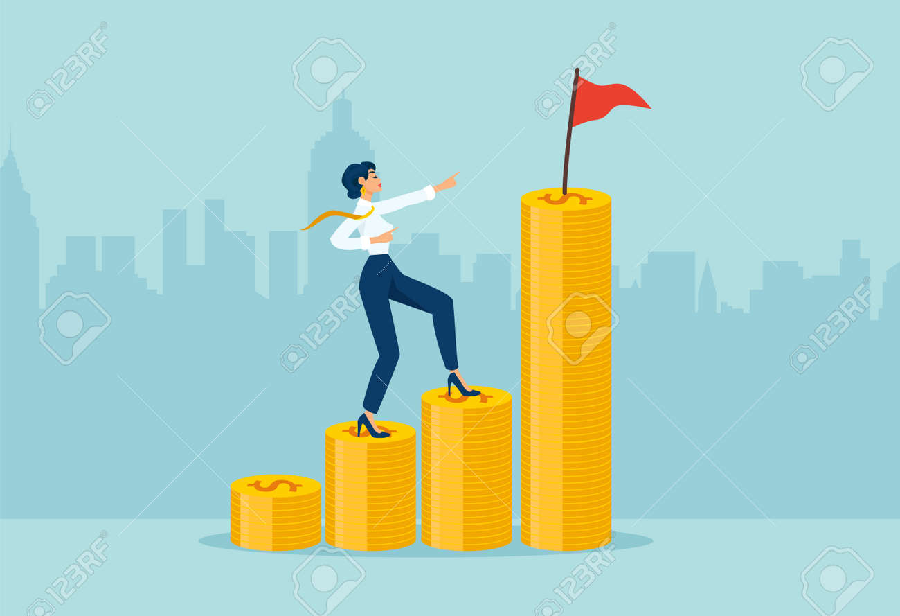 Vector of a businesswoman climbing up coin stacks aiming to achieve financial goal with a flag on the top. - 170394853