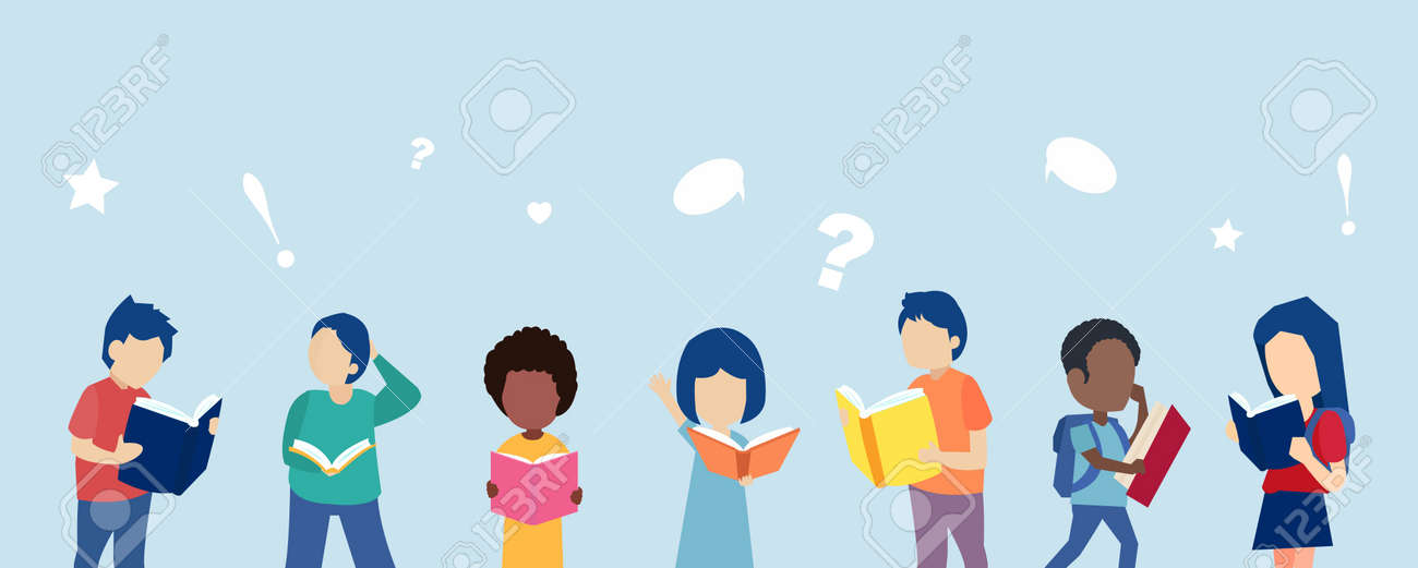 Vector of diverse children boys and girls reading books - 171479875