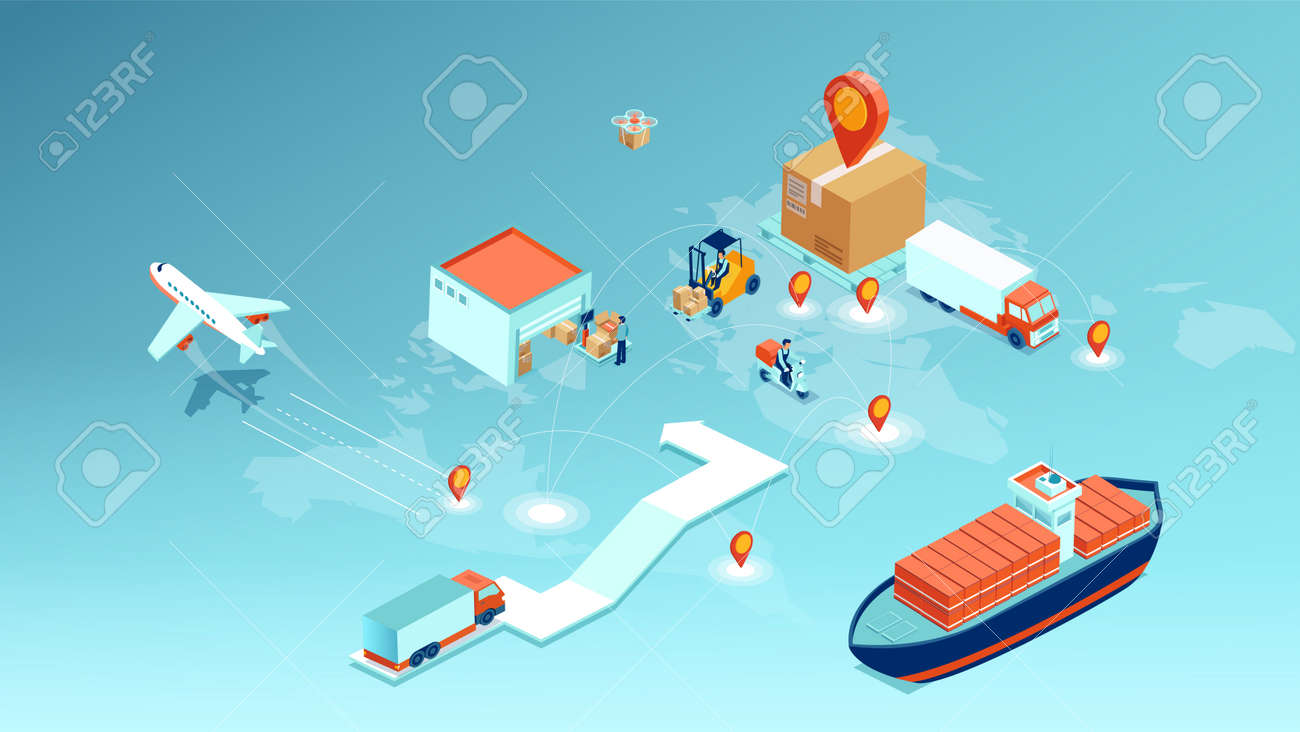 Vector of a cargo delivery, logistics transportation and worldwide shipping concept - 171512961