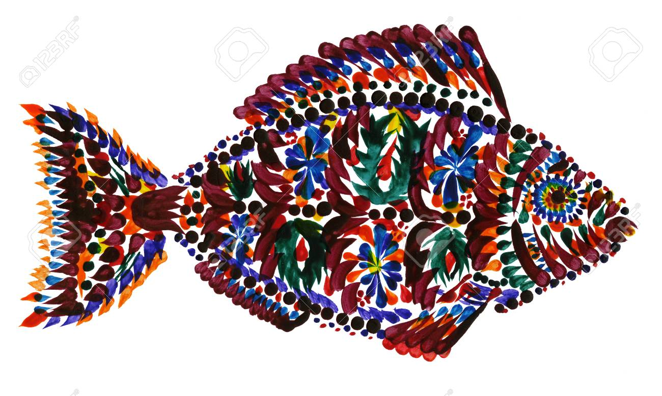 Colorful Hand-painted Fish On White Background Stock Photo, Picture ...