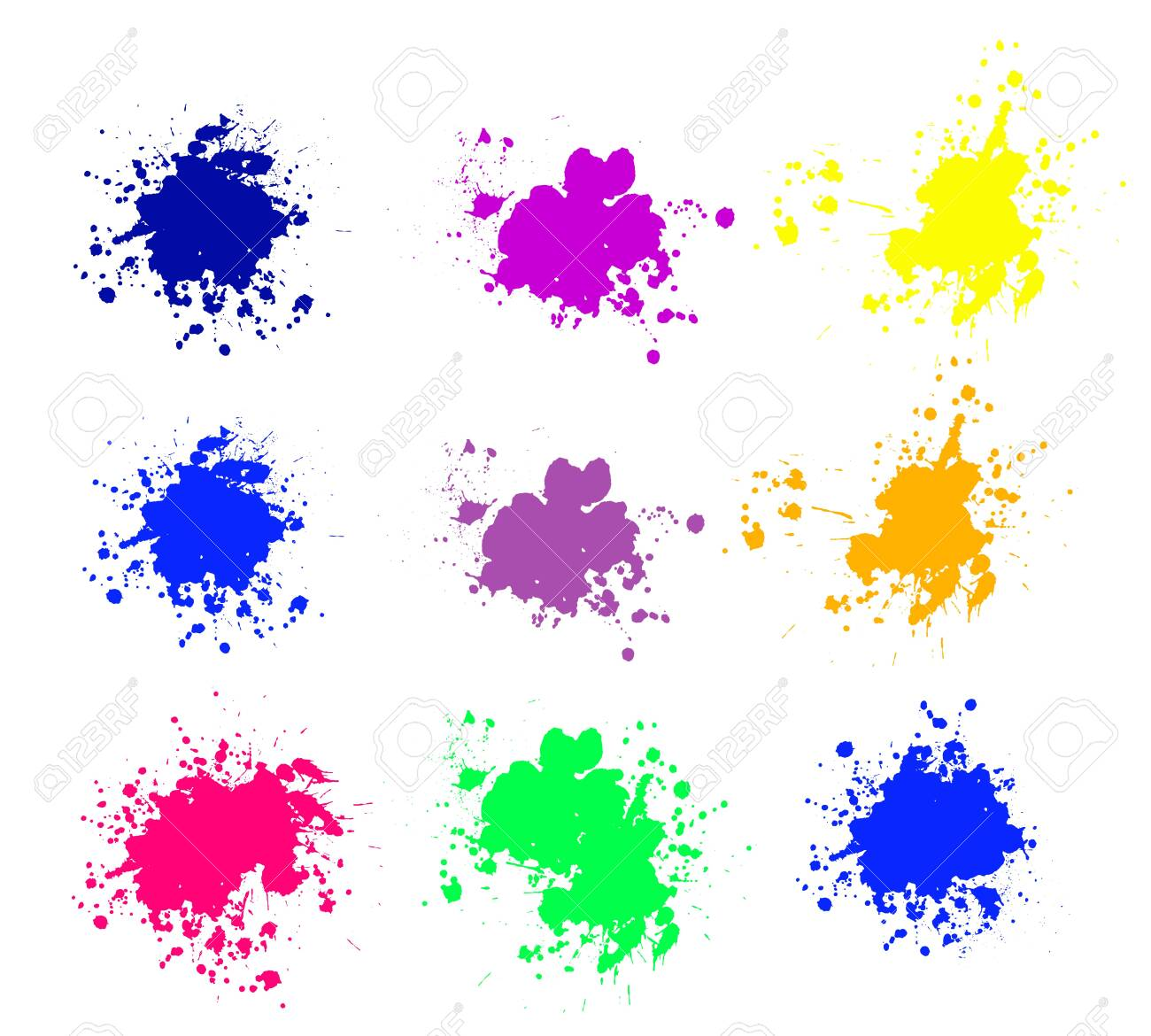 Grunge splatters. Abstract background. Grunge text banners. Color ink splashes. - 134224357