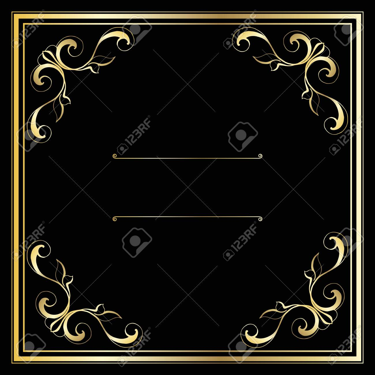 Vector trendy design template for wedding or birthday invitation, brochure, poster or business card. Geometric gold pattern.Vintage retro golden frame in Art Deco style. - 135292433