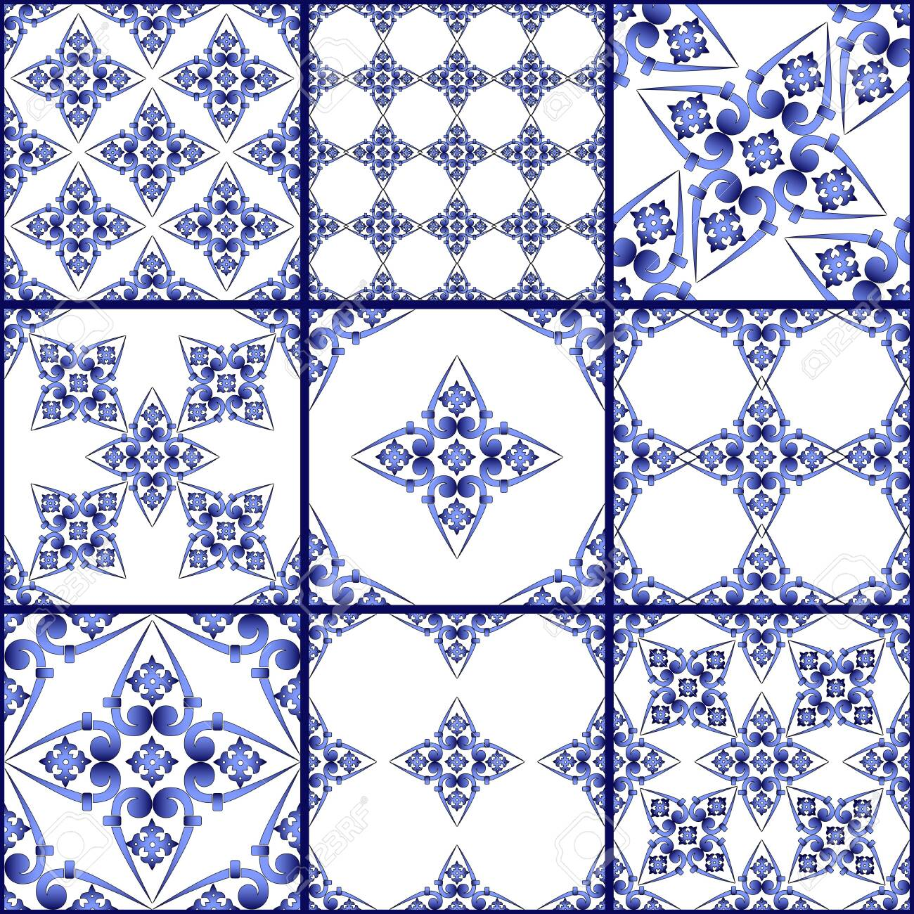 Seamless patchwork tile. Majolica pottery tile. Portuguese and Spain decor. Ceramic tile in talavera style. Vector illustration. Abstract seamless patchwork pattern with geometric and floral ornament - 145344337