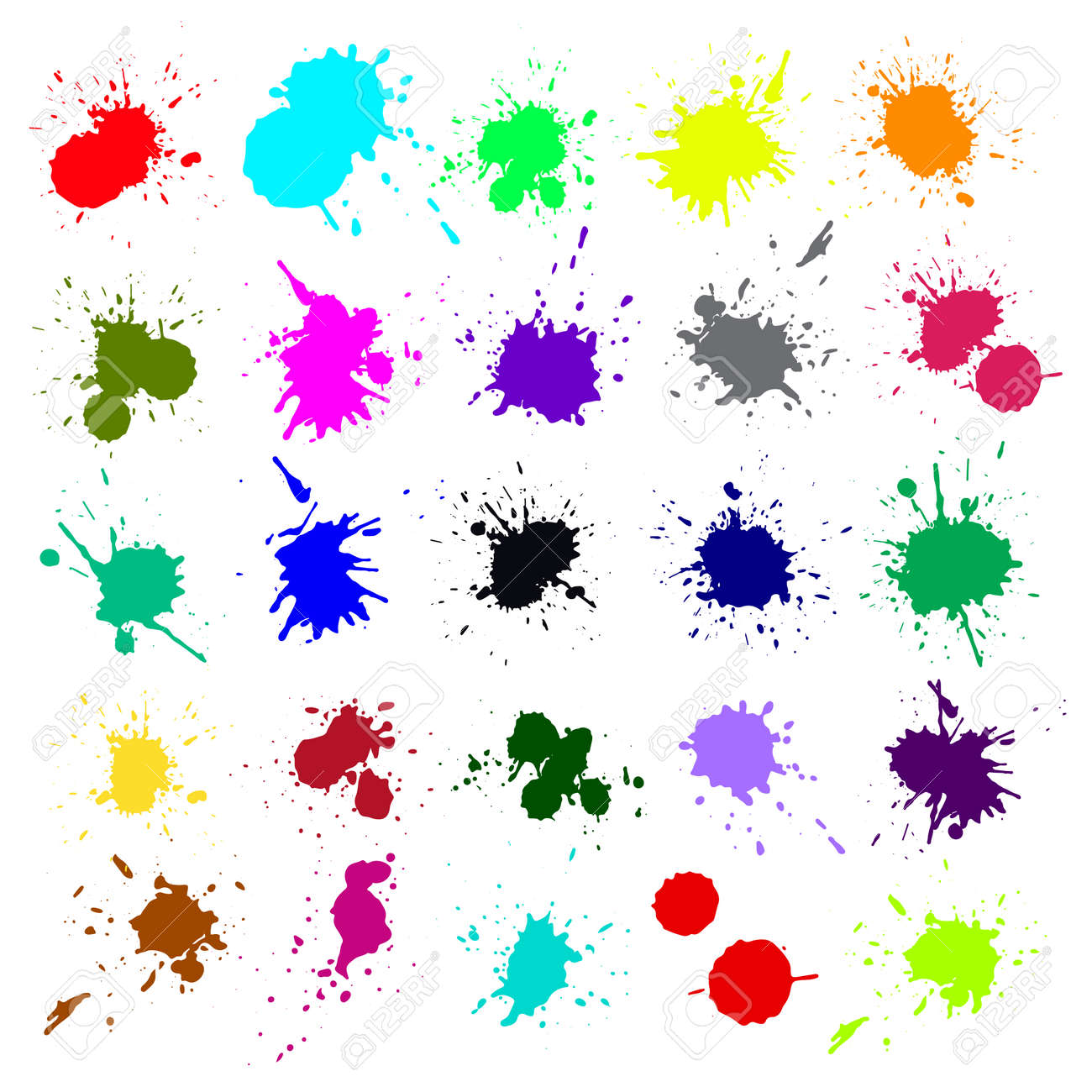 Grunge splatters. Abstract background. Grunge text banners. Color ink splashes. - 158330506