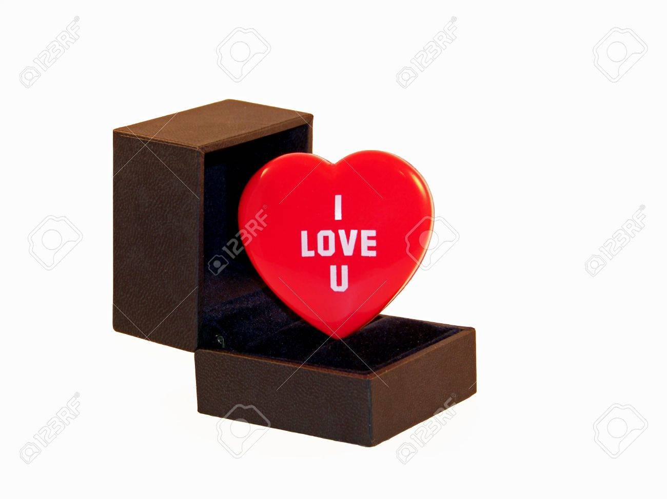 A Heart With I Love U In Side An Engagement Ring Box Stock Photo