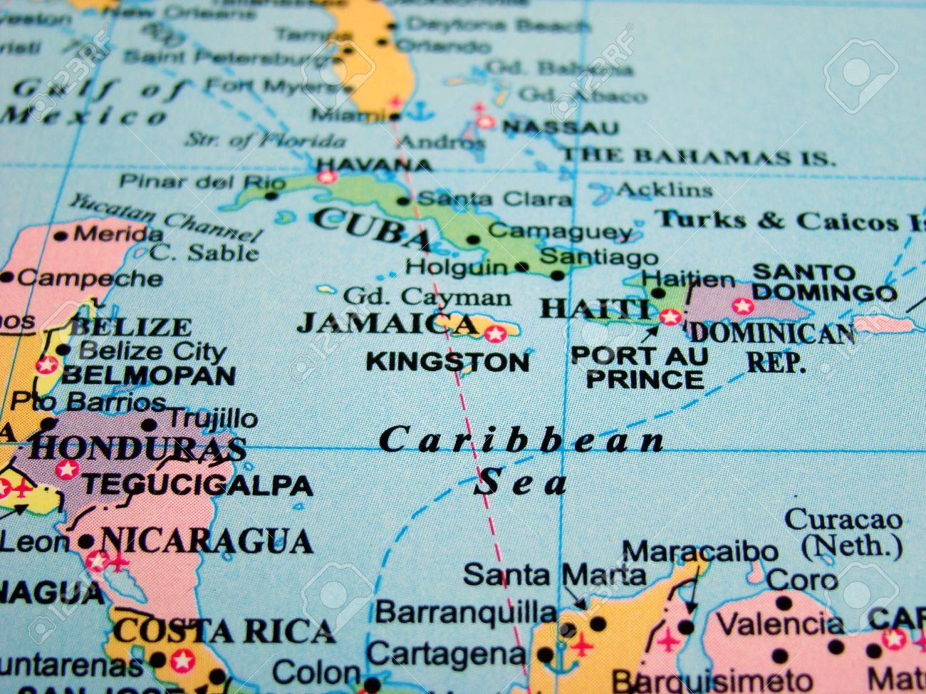 Map Of The Caribbean Sea Stock Photo Picture And Royalty Free - Map of the caribbean sea