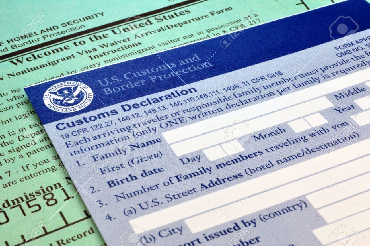 Arriving In The USA: Customs Forms At Border Point Of Entry Stock ...