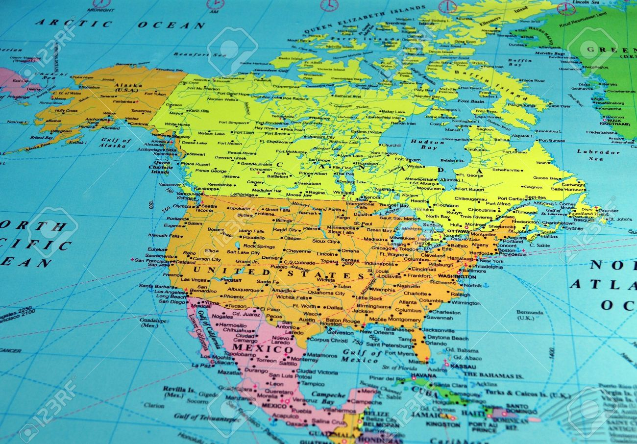Image of: North America Map Includes Names Of Many Cities And References Stock Photo Picture And Royalty Free Image Image 4757862