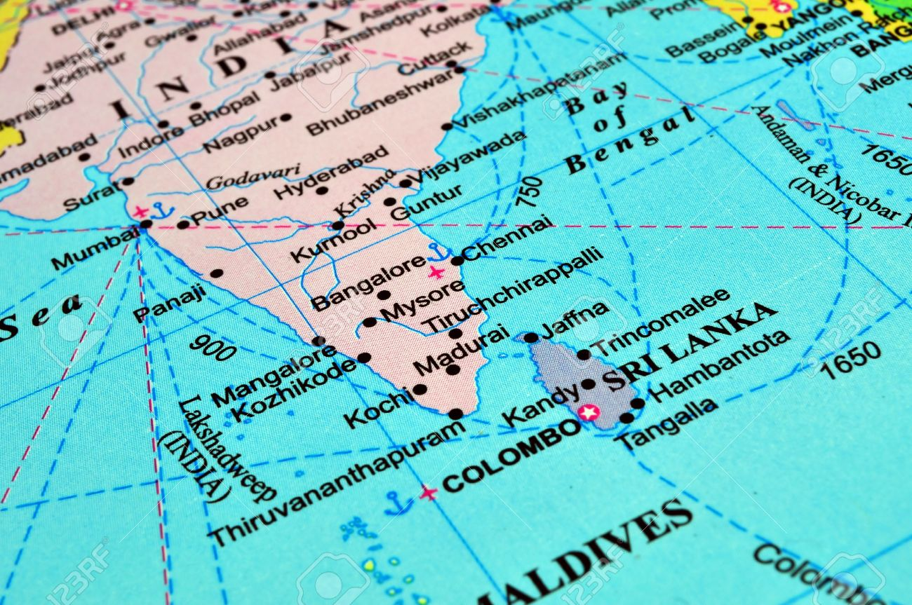 Map Of South Asia Sri Lanka And India Stock Photo Picture And - Maldives map india