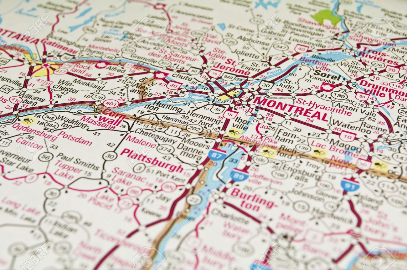 Map Of Canada Quebec Montreal.Road Map Of The Montreal City Area Quebec Canada Stock Photo