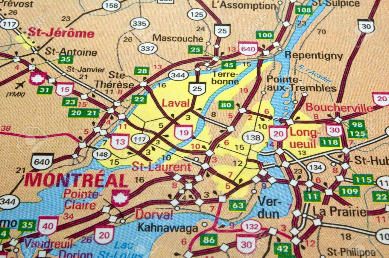 road map of the montreal city area quebec canada stock photo  . road map of the montreal city area quebec canada stock photo