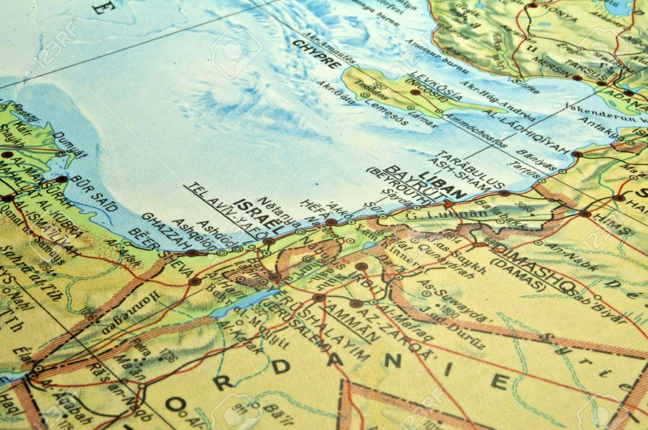 Middle East map, Israel Lebanon Egypt conflict area