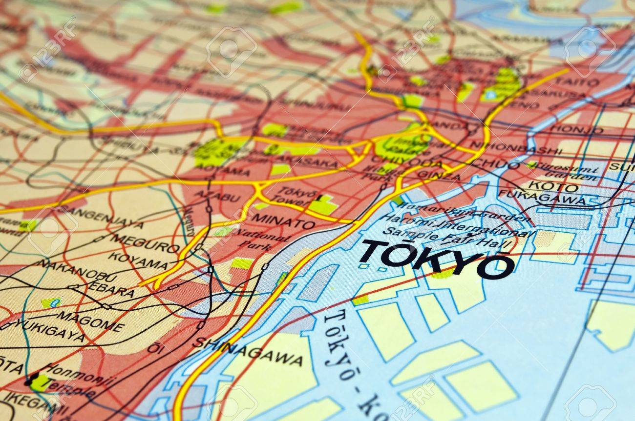 Road Map Of Tokyo City In Japan Stock Photo Picture And Royalty - Japan map road