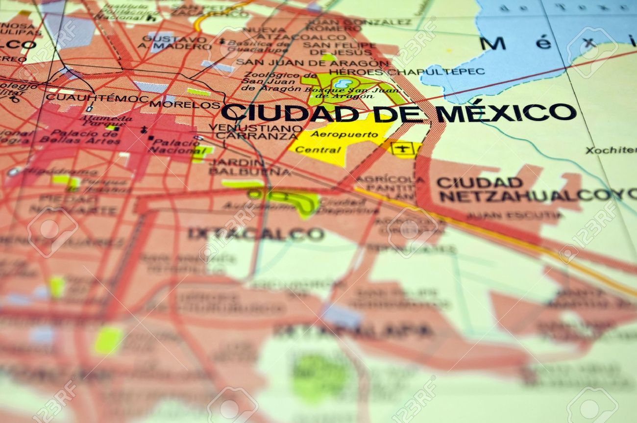 Road Map Of Mexico City And Surrounding Areas Stock Photo - Mexico road map