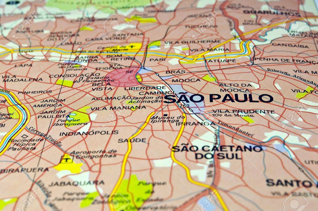 Road Map Of Sao Paulo City Brazil Stock Photo Picture And Royalty