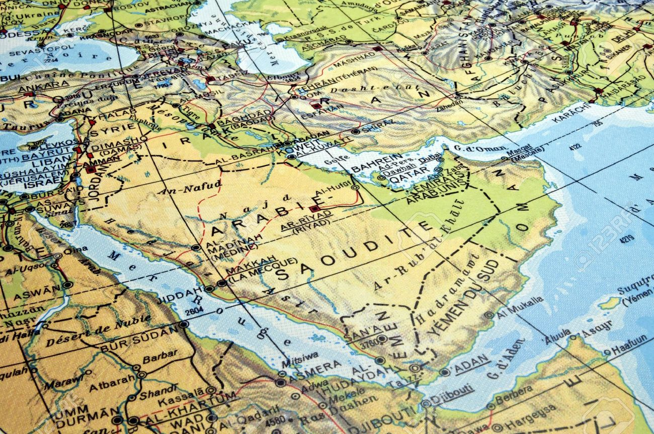 Map Of The Arabian Peninsula And Countries In The Red Sea Region ...