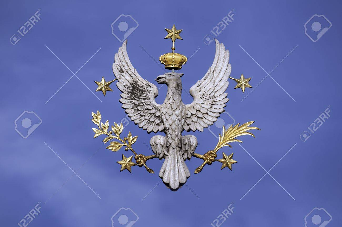 Crowned white eagle national symbol of poland isolated on blue crowned white eagle national symbol of poland isolated on blue natural sky stock biocorpaavc