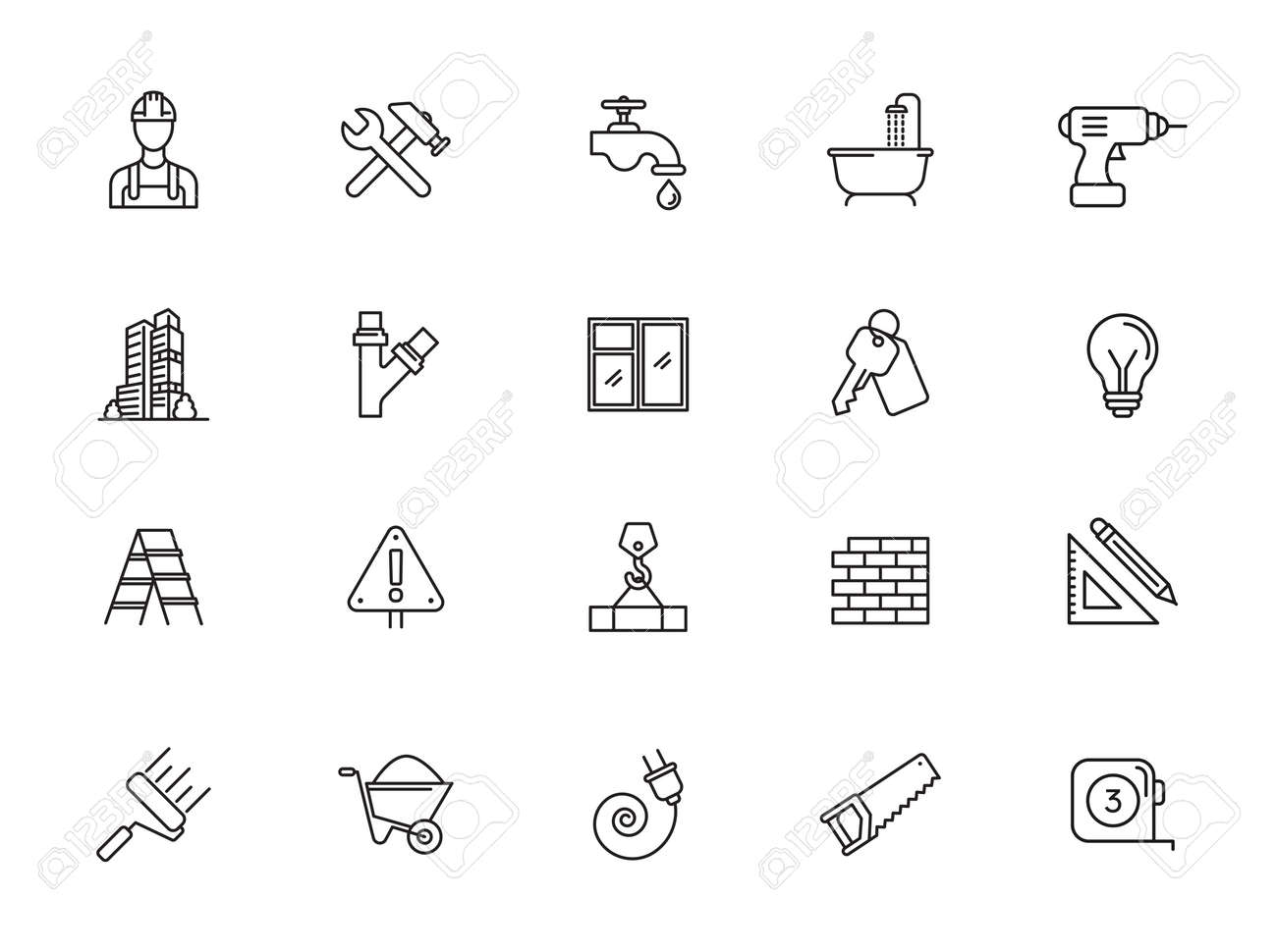 Outline web icons set - construction, home repair tools. Thin line web icons collection. Simple vector illustration. - 152970689