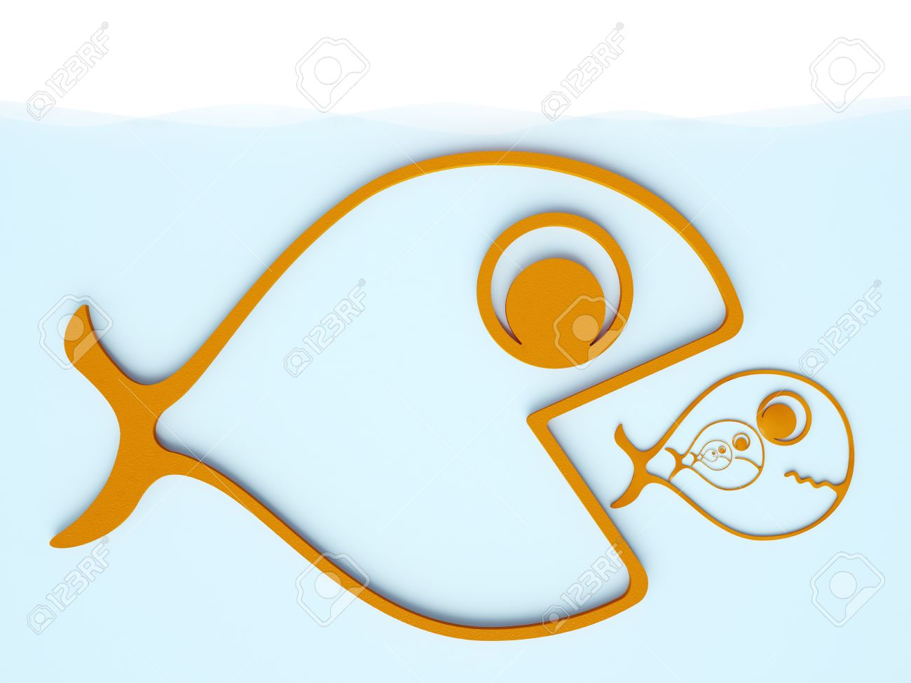 Big Fish Eats Little Fish Stock Photo Picture And Royalty Free