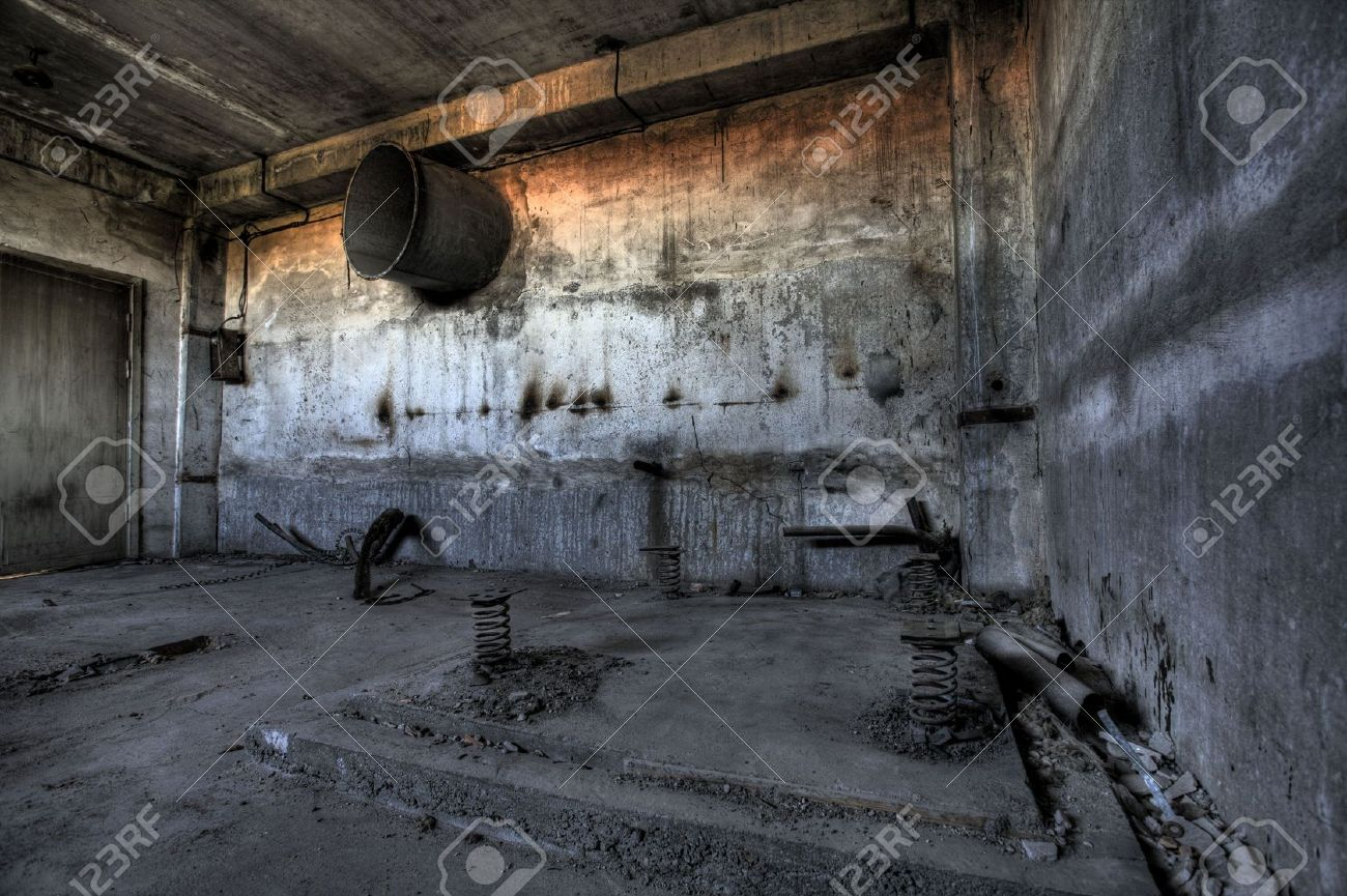 Empty destroyed abandoned factory with empty windows Stock Photo - 5131423