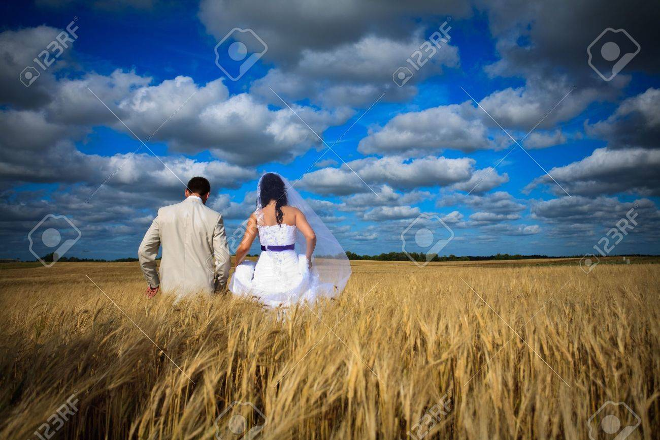 wedding begining of new life fertility among rye fields Stock Photo - 6508210