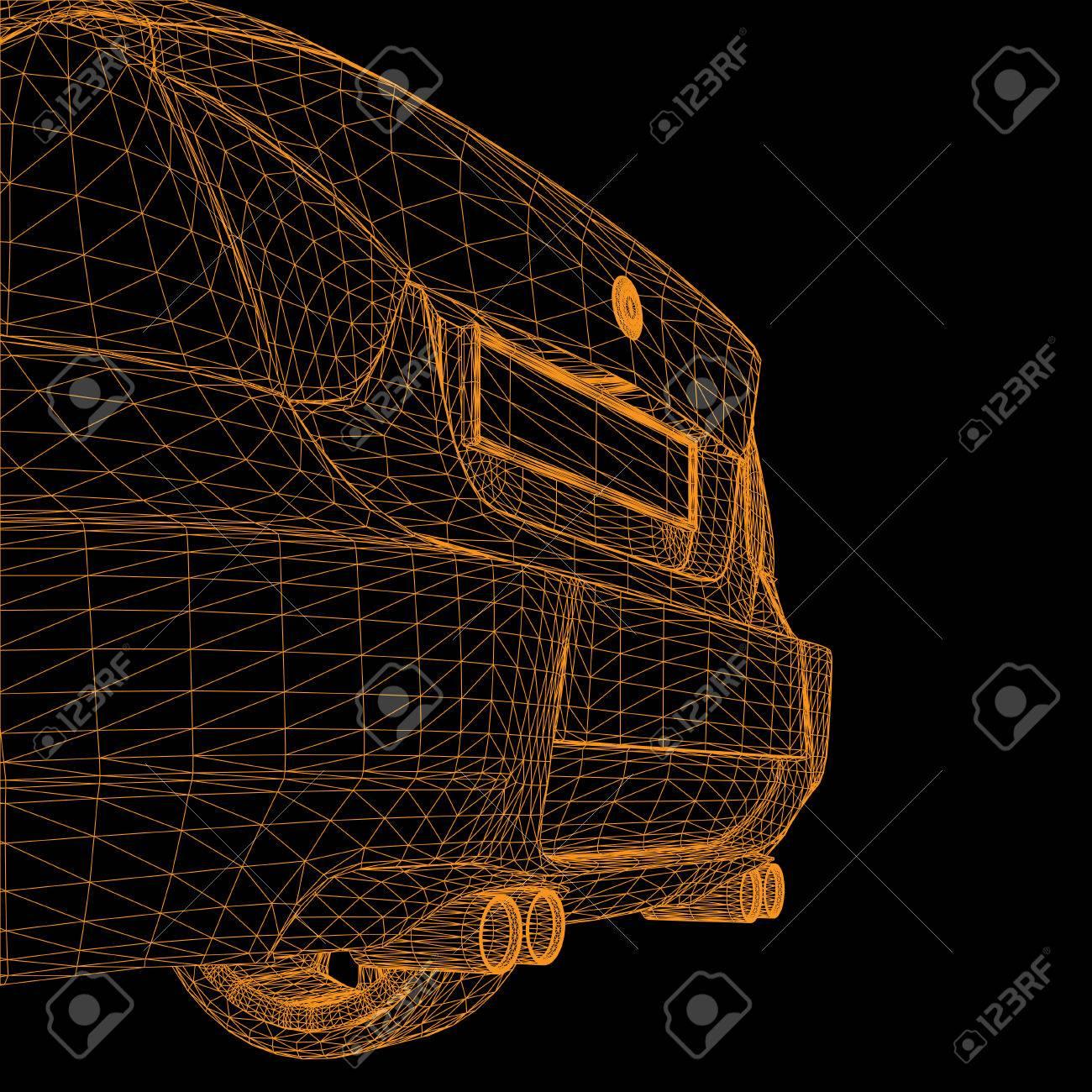 wireframe car - 23079723