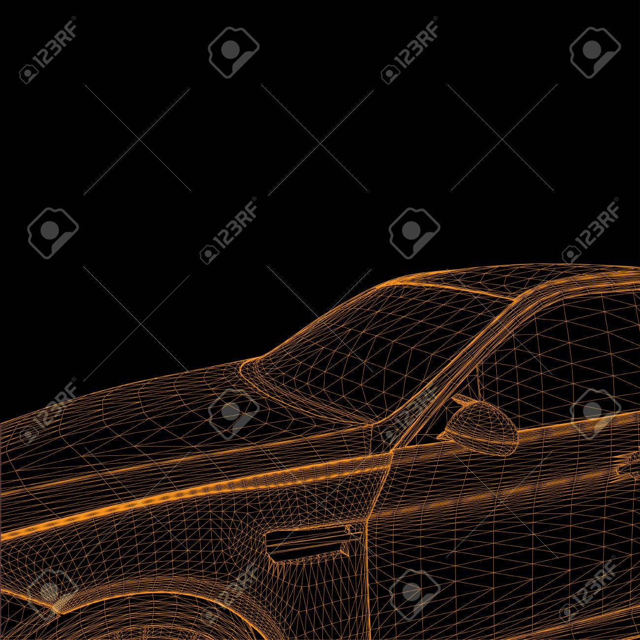 wireframe car - 23079722