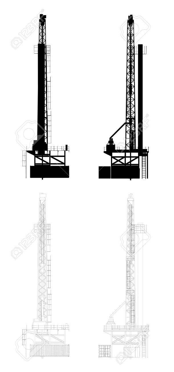 Oil Drill Silhouette - 23339496
