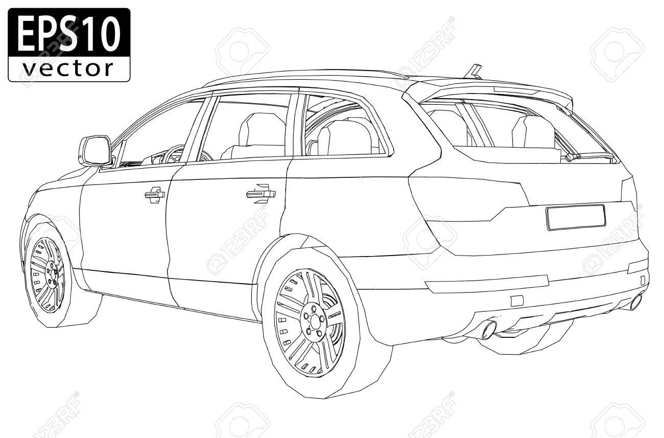 SUV Wireframe EPS10 Vector - 24202615