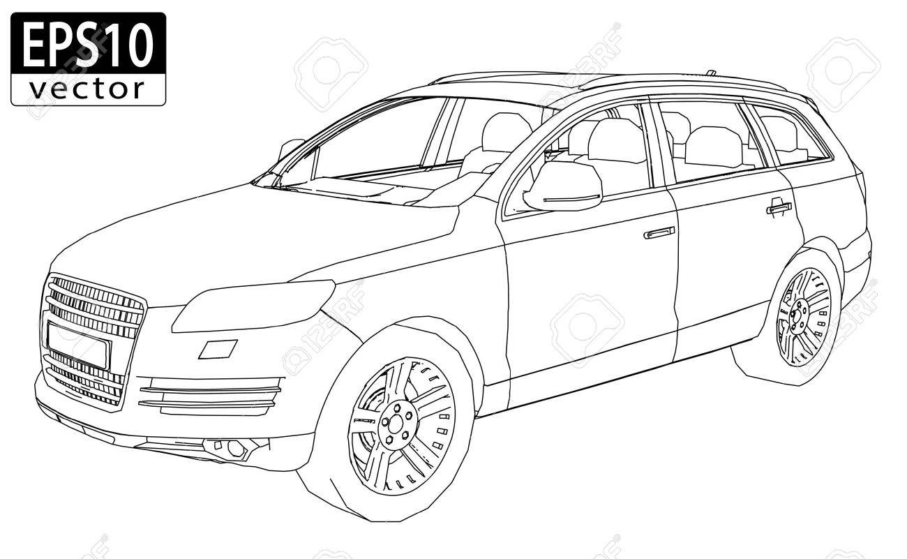 SUV Wireframe EPS10 Vector - 24202616