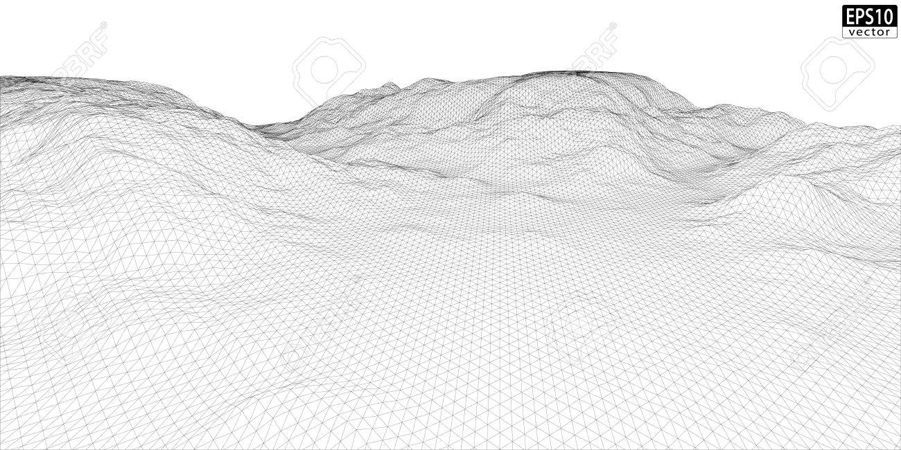 Wireframe Terrain 3 D Wire Center 741 Op Circuit Diagrams Furthermore Toyota Camry Serpentine Belt 3d Wide Eps10 Vector Royalty Free Cliparts Rh 123rf Com 32x32 Model Three