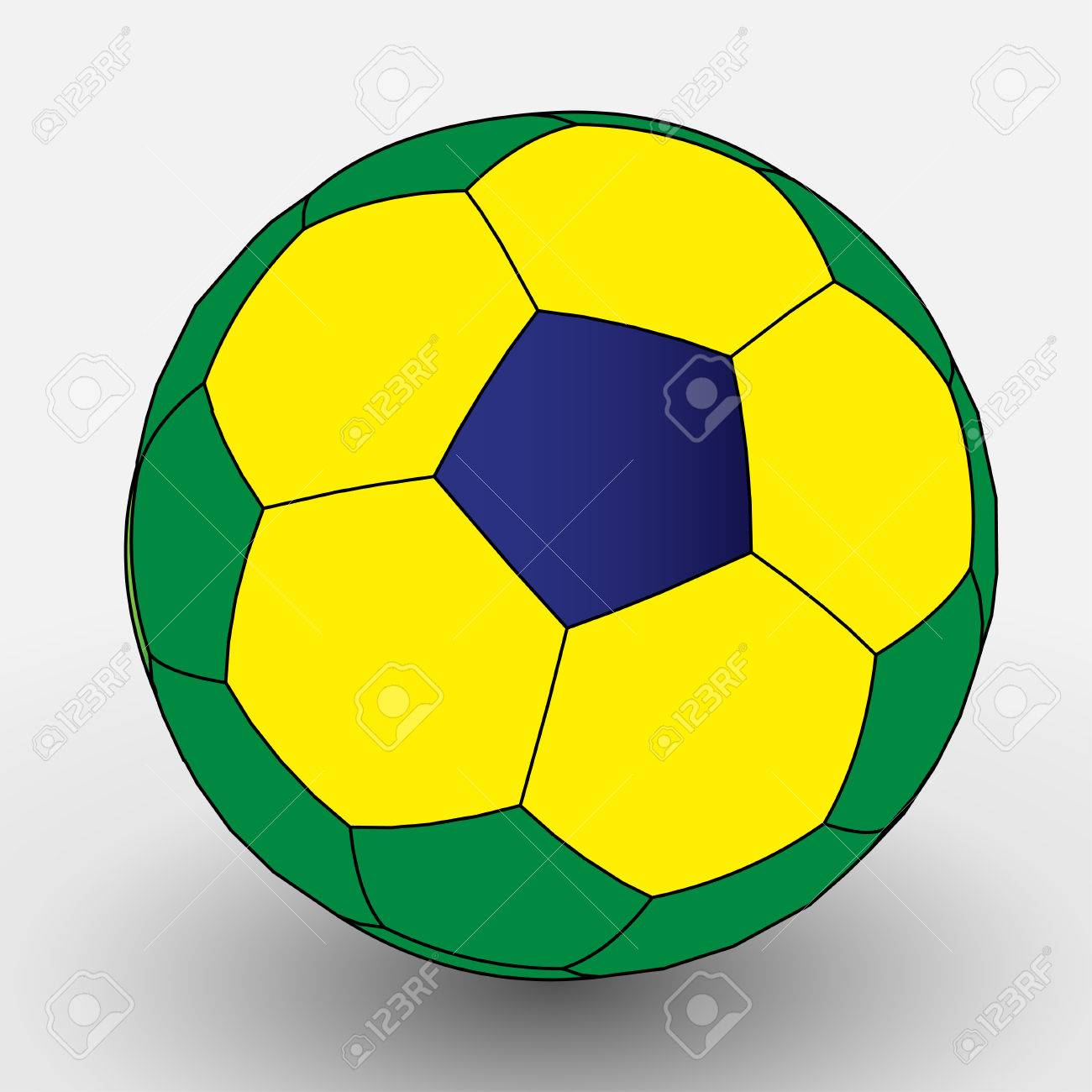 Flat Color Brazilian Soccer Ball EPS10 Vector - 51768760