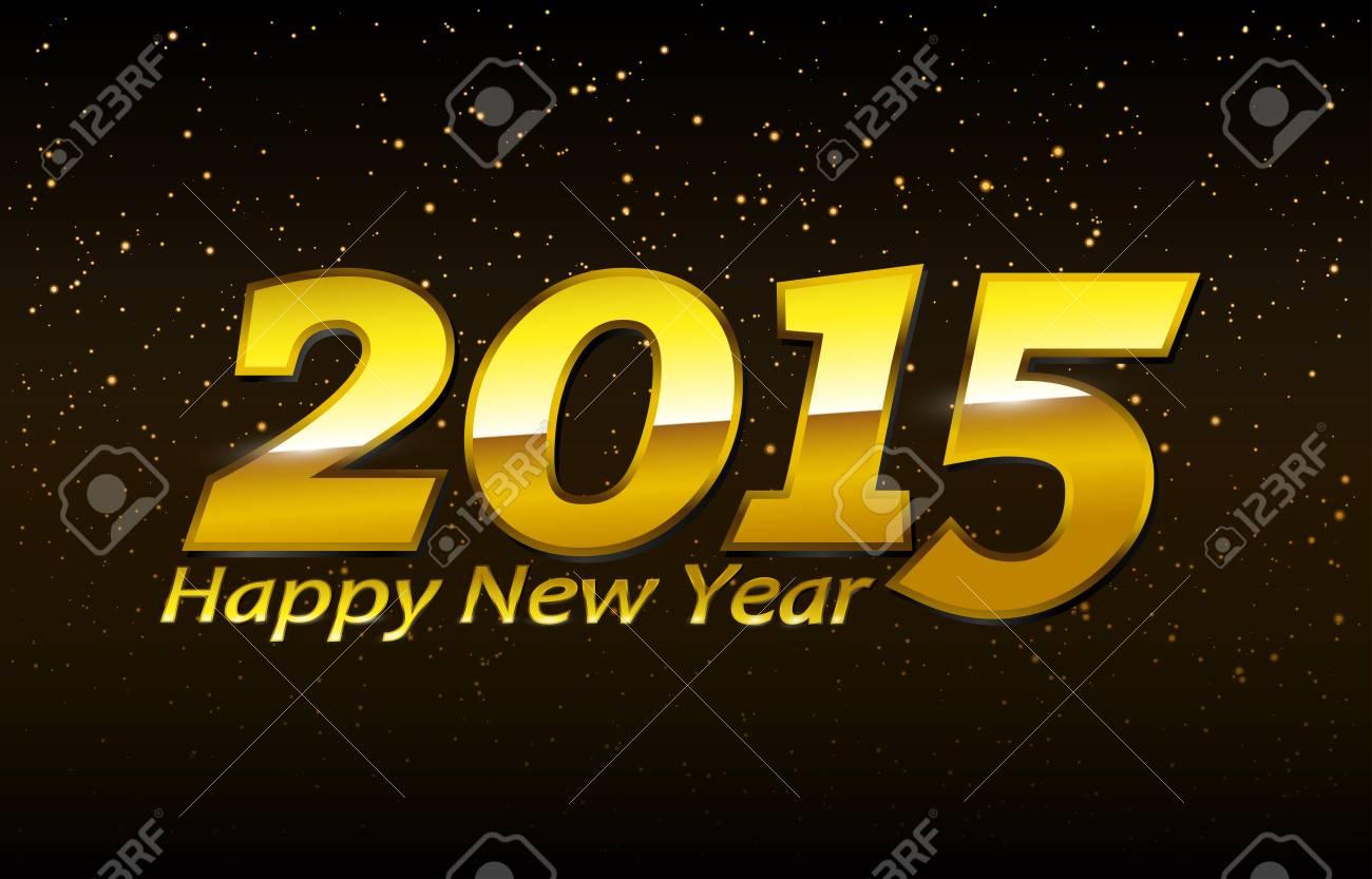 Golden Happy New Year 2015 Sign EPS10 Vector - 51785691