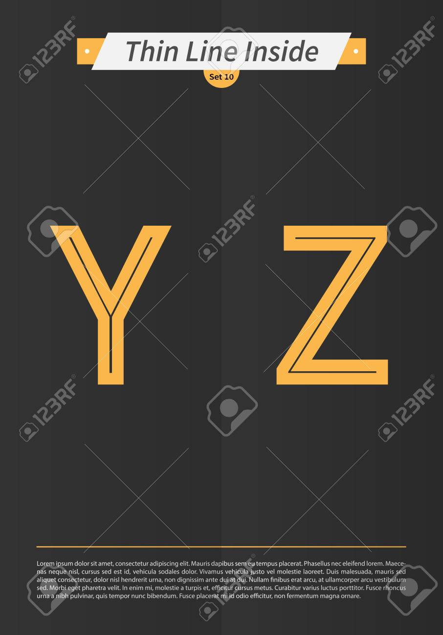 Typographic alphabet in a set with line inside and minimal design EPS10 Vector Set 10 Y Z letters - 51749643