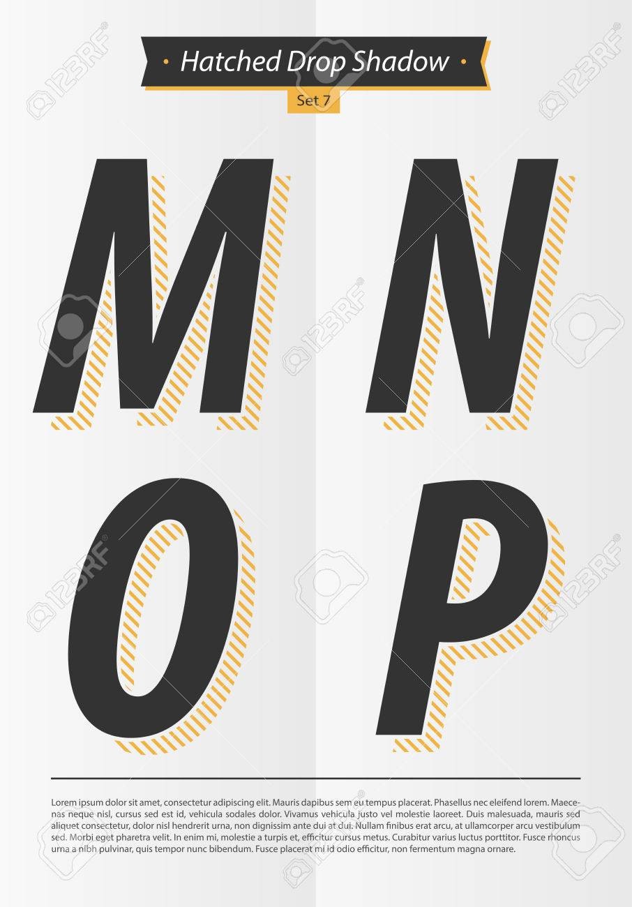 Typographic alphabet in a set with hatched shadow and minimal design EPS10 Vector Set 7 M N O P letters - 51755944