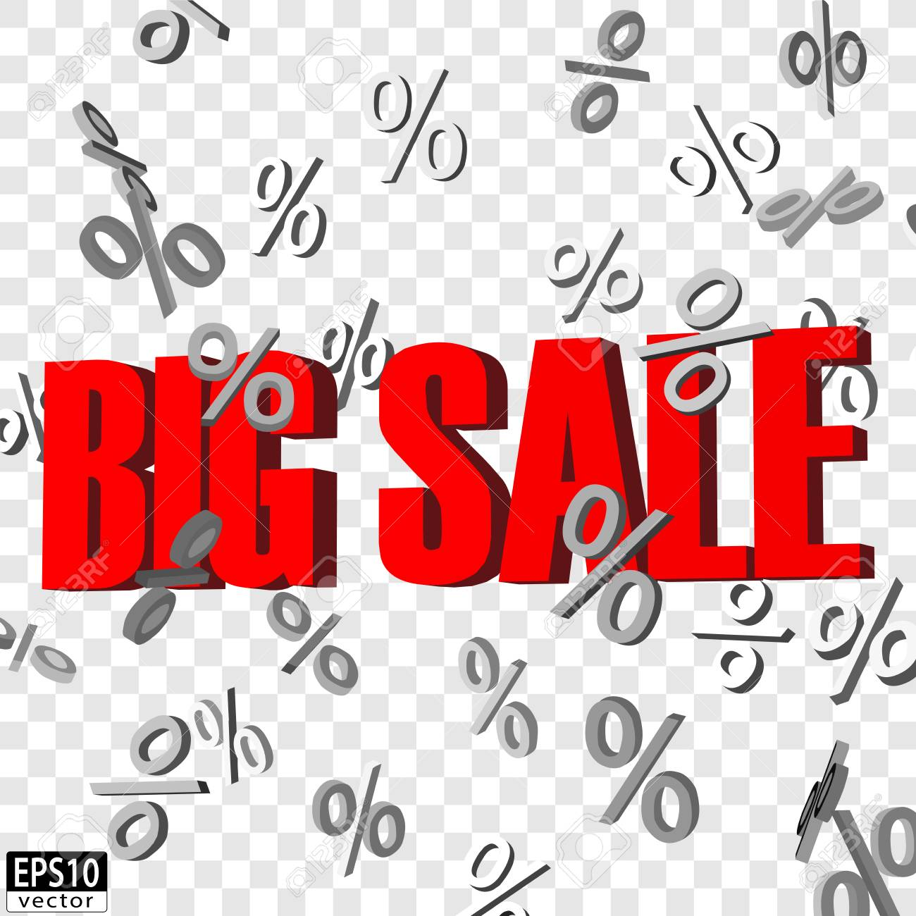 Isolated Big sale word with falling percent signs EPS10 Vector - 51756196