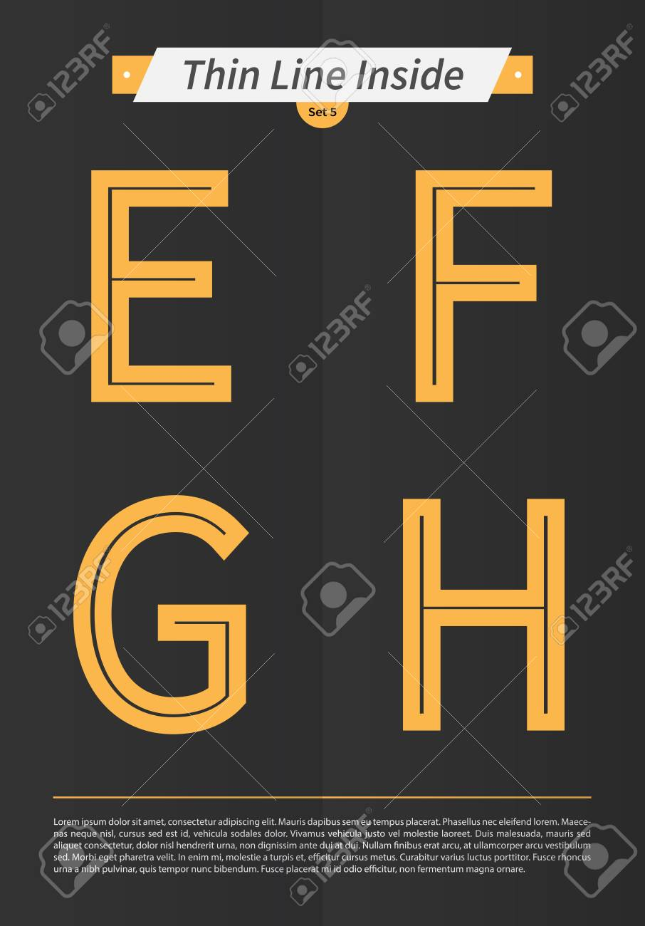 Typographic alphabet in a set with line inside and minimal design EPS10 Vector Set 5 E F G H letters - 51756295