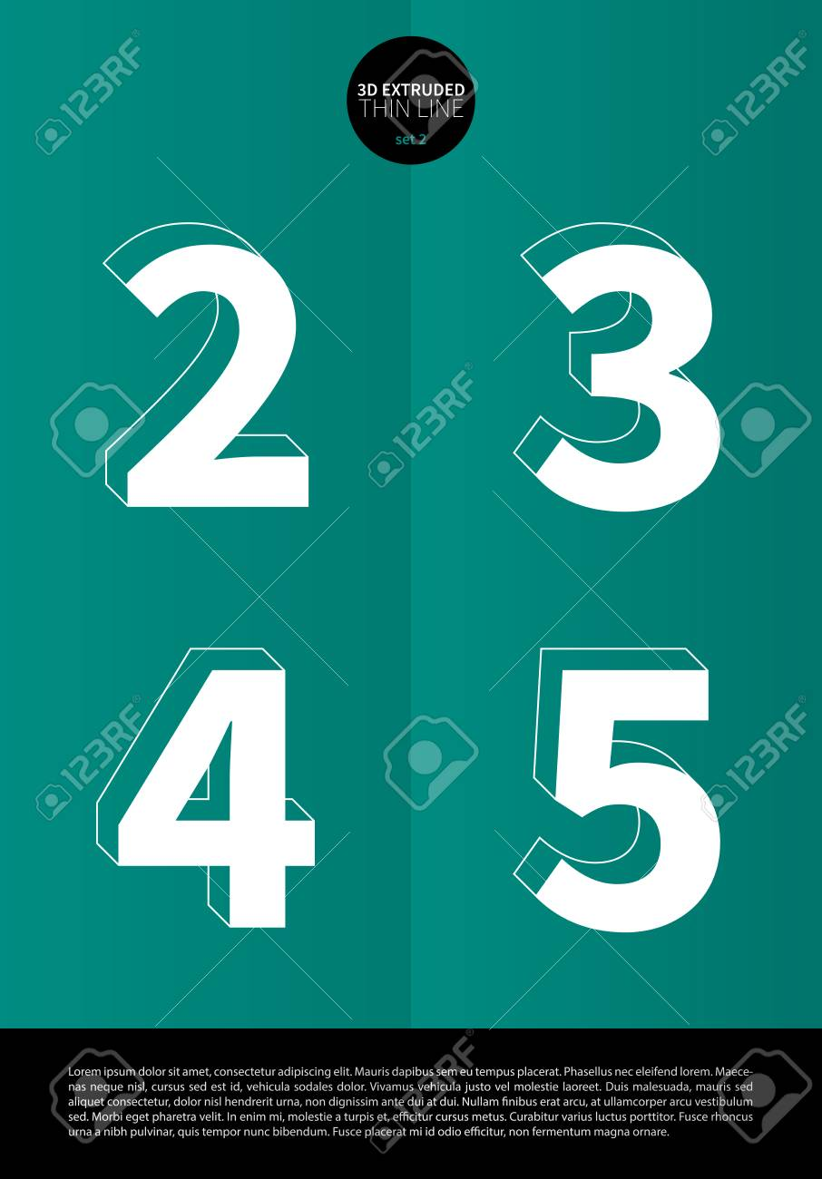 Typographic alphabet in a set with extruded thin line and minimal design EPS10 Vector Set 2 2 3 4 5 letters - 51756323