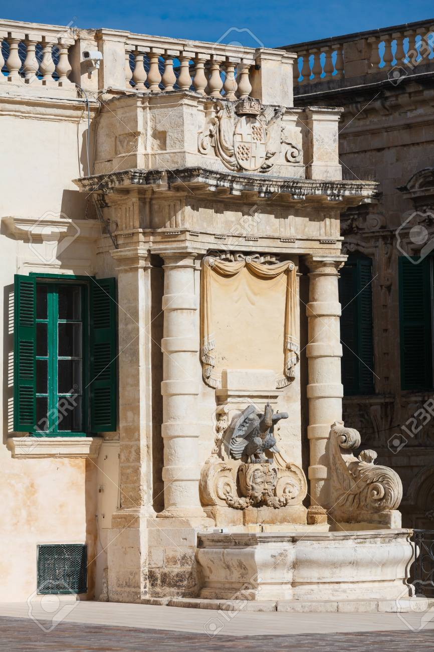 Fountain On The Side Of Main Guard Building Valletta Malta Stock Photo Picture And Royalty Free Image Image 18932708