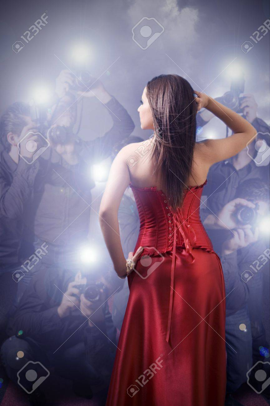 famous woman posing in front of paparazzi Stock Photo - 9435650