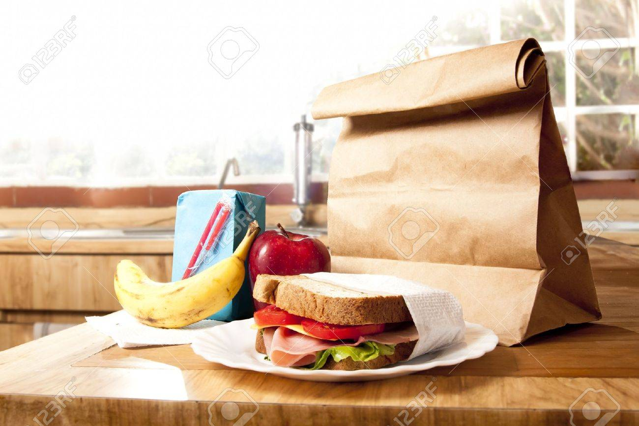 delicious and healthy school lunch with paper bag Stock Photo - 9435708