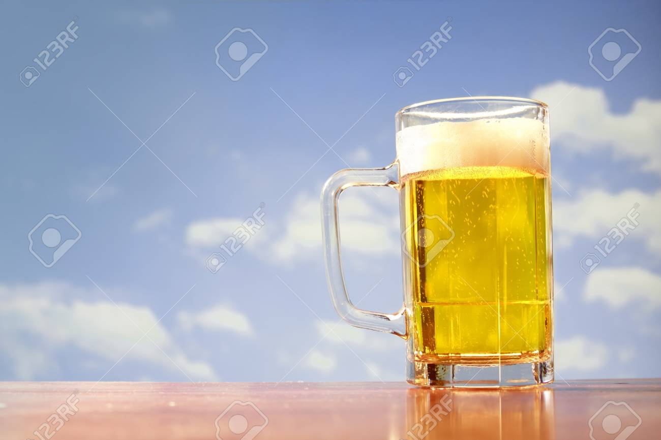 beer mug on blue sky Stock Photo - 11589116
