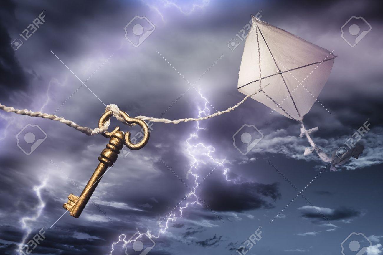 Benjamin's Franklin kite in a dangerous electrical storm - 12359967