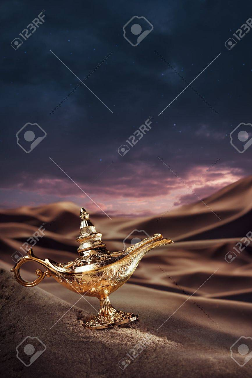 Aladdin magic lamp on a desert Stock Photo - 15528023
