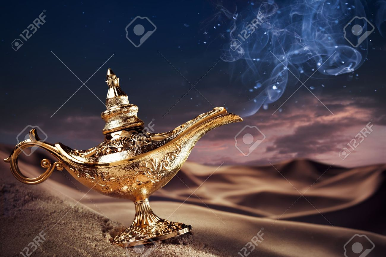 Aladdin Magic Lamp On A Desert With Smoke Stock Photo, Picture And ... for Magic Lamp With Smoke  126eri